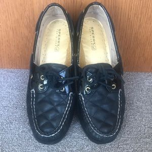 SPERRY QUILTED BLACK LEATHER TOP-SIDERS SIZE 9